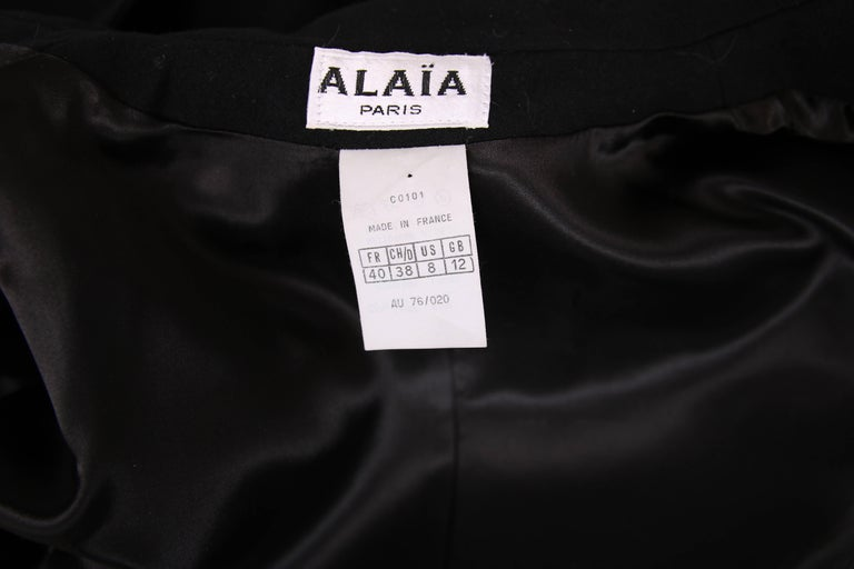 1991 Azzedine Alaia Black Wool Fitted Jacket Blazer For Sale 2