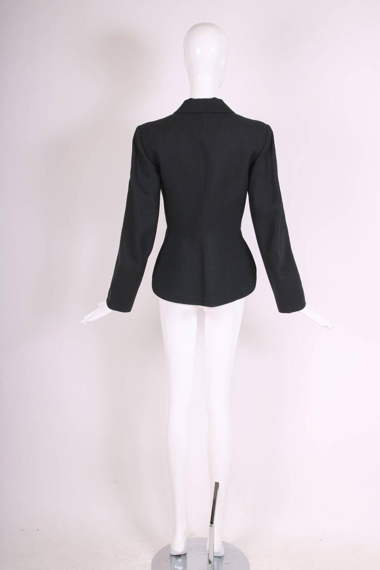 1991 Azzedine Alaia Black Wool Fitted Jacket Blazer For Sale 1