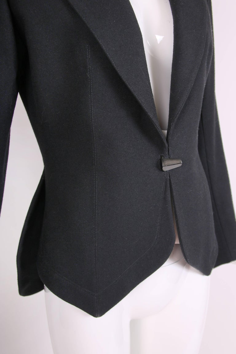 1991 Azzedine Alaia Black Wool Fitted Jacket Blazer In Excellent Condition For Sale In Los Angeles, CA