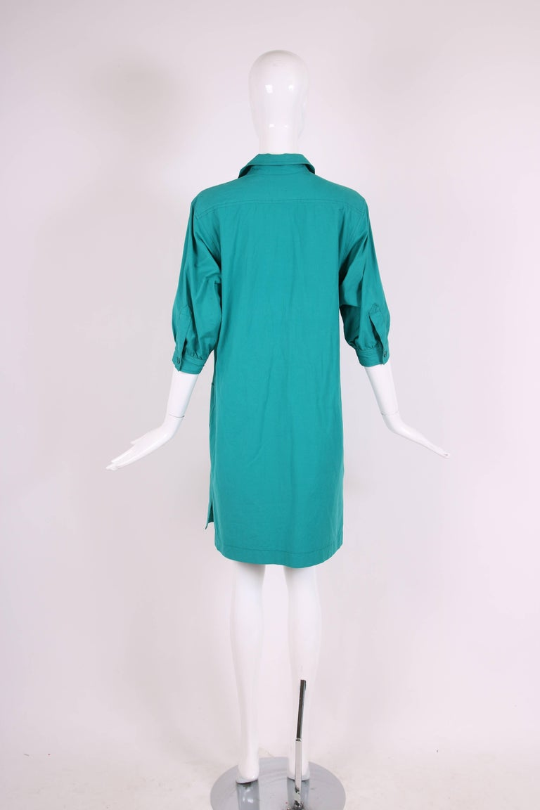 1970 S Yves Saint Laurent Ysl Teal Green Smock Dress For