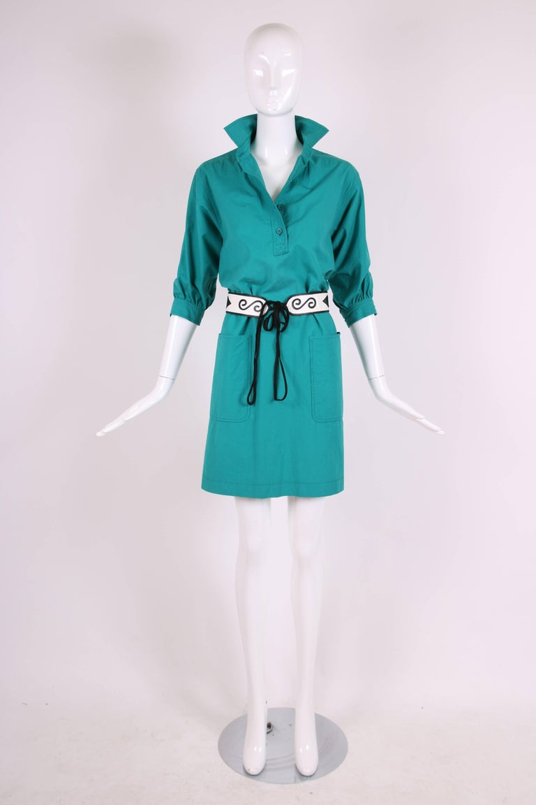 1970 S Yves Saint Laurent Ysl Teal Green Smock Dress For