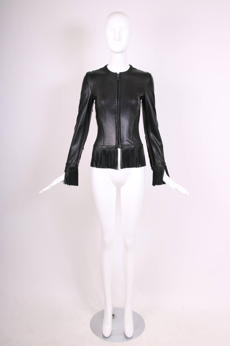 2002 Spring Summer Versace Black Leather Fringed Jacket with Lace Up Back  3