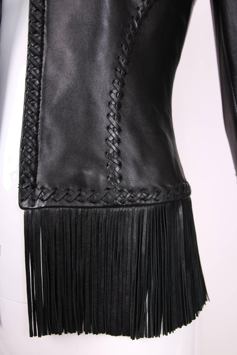 2002 Spring Summer Versace Black Leather Fringed Jacket with Lace Up Back  5