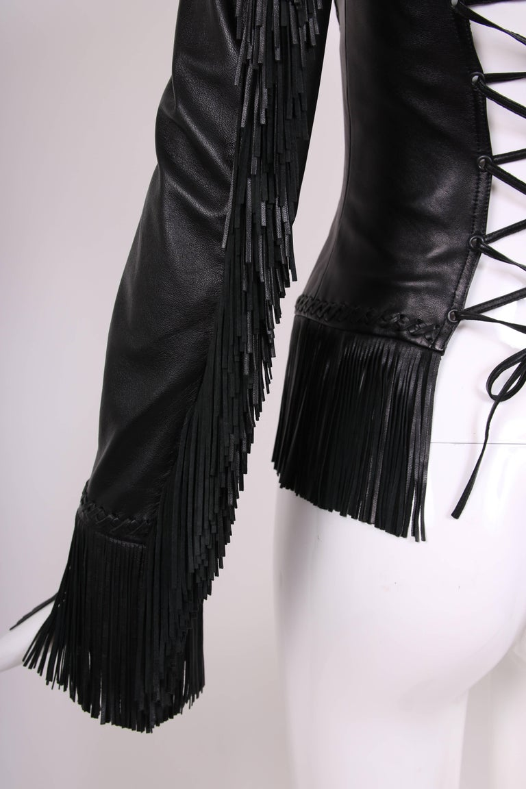 2002 Spring Summer Versace Black Leather Fringed Jacket with Lace Up Back  6