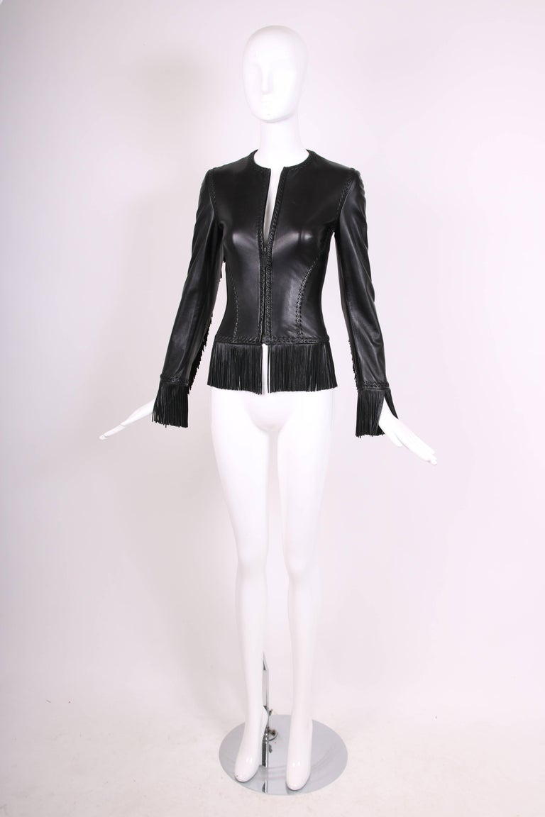2002 Spring Summer Versace Black Leather Fringed Jacket with Lace Up Back  4