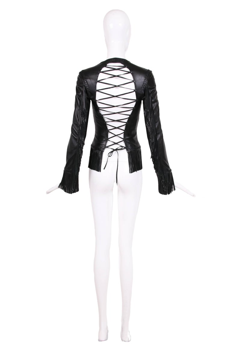 2002 Spring Summer Versace Black Leather Fringed Jacket with Lace Up Back  2