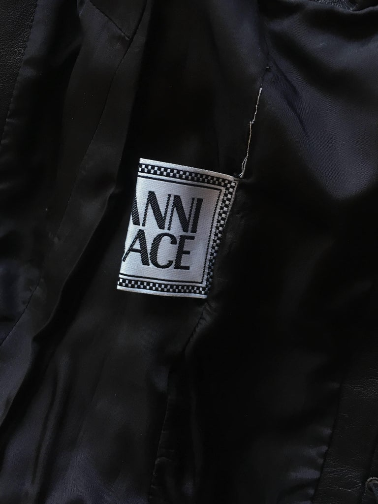 2002 Spring Summer Versace Black Leather Fringed Jacket with Lace Up Back  8