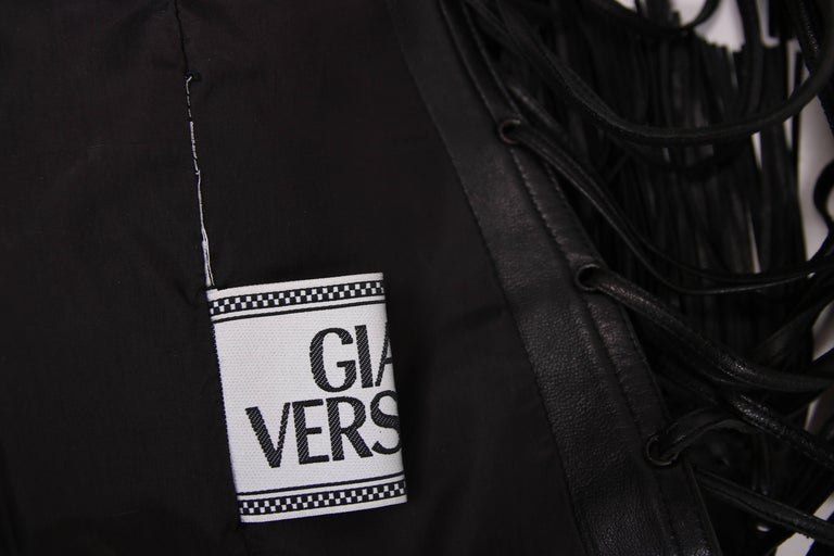 2002 Spring Summer Versace Black Leather Fringed Jacket with Lace Up Back  7
