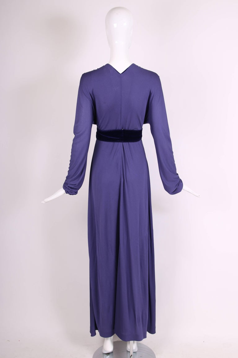 Yves Saint Laurent YSL by Tom Ford Purple Maxi Dress W/Velvet Ties 6