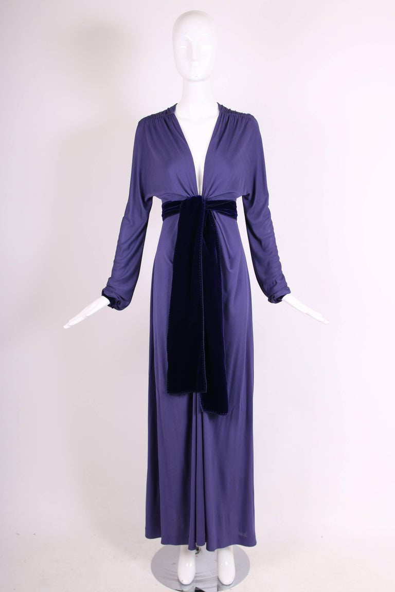 Yves Saint Laurent YSL by Tom Ford Purple Maxi Dress W/Velvet Ties In Excellent Condition For Sale In Los Angeles, CA