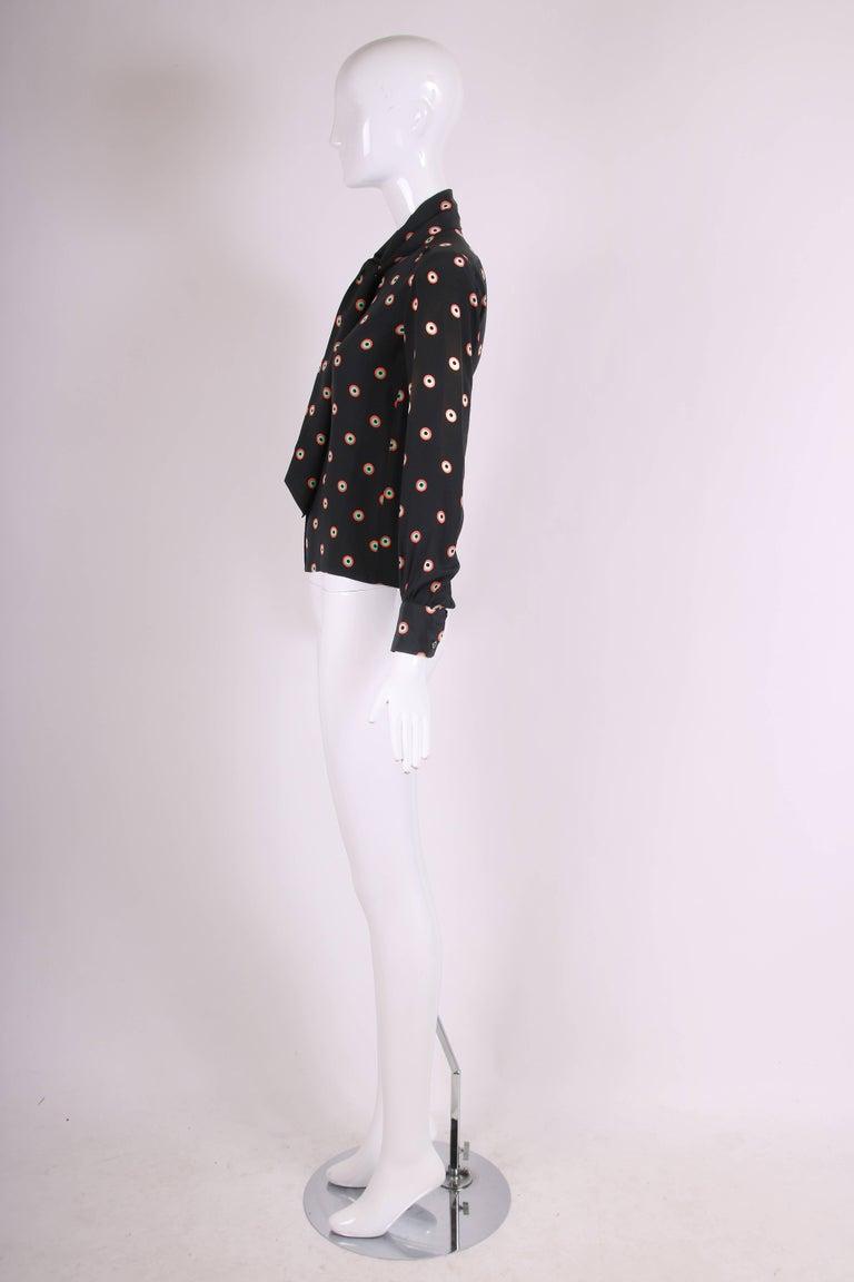 Black 1970's Yves Saint Laurent YSL Silk Printed Blouse w/Neck Ties For Sale