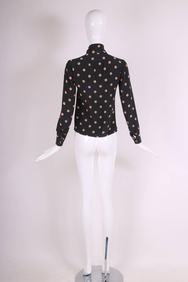 1970's Yves Saint Laurent YSL Silk Printed Blouse w/Neck Ties In Good Condition For Sale In Los Angeles, CA