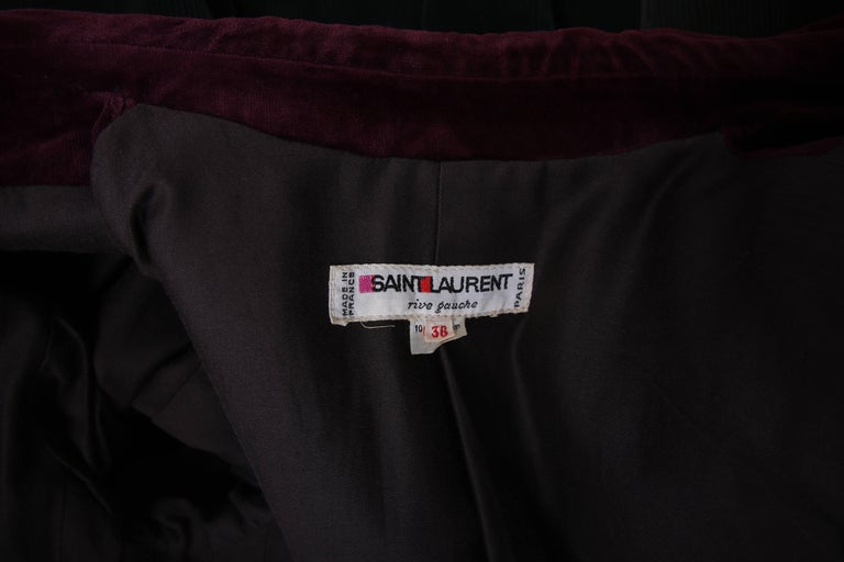 Yves Saint Laurent YSL Green Corduroy Jacket W/Burgundy Velvet Trim For Sale 2