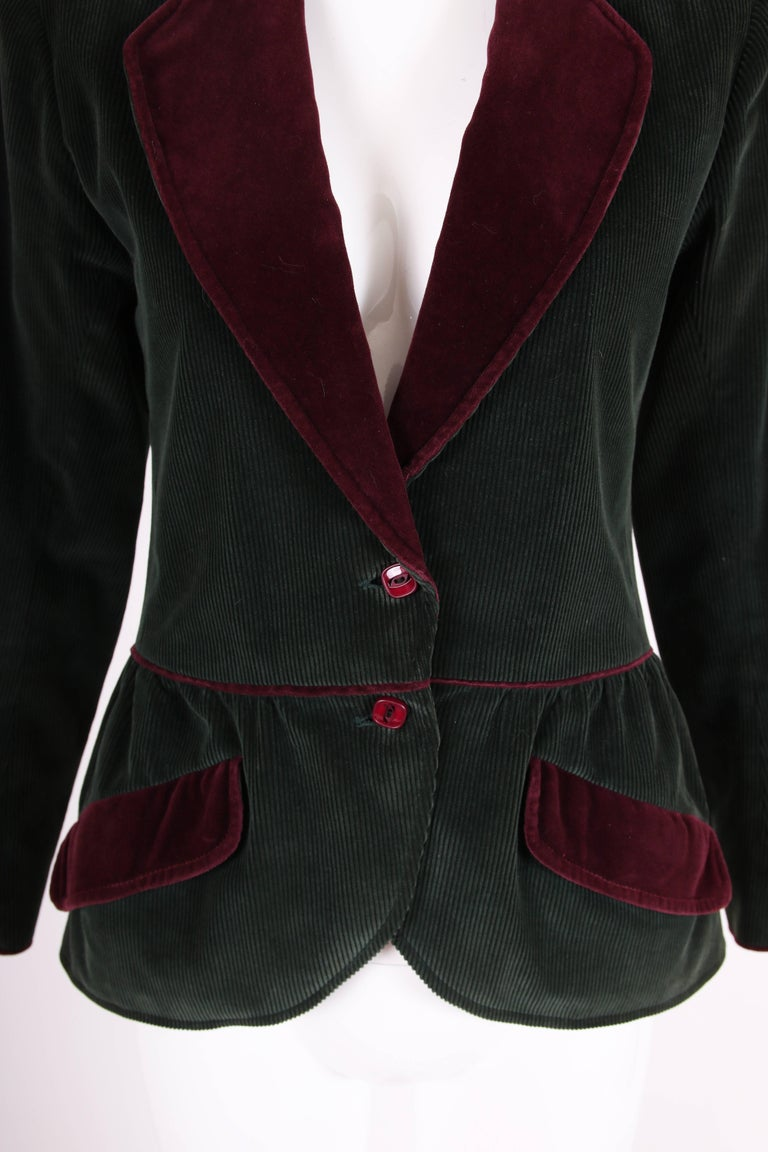 Women's Yves Saint Laurent YSL Green Corduroy Jacket W/Burgundy Velvet Trim For Sale