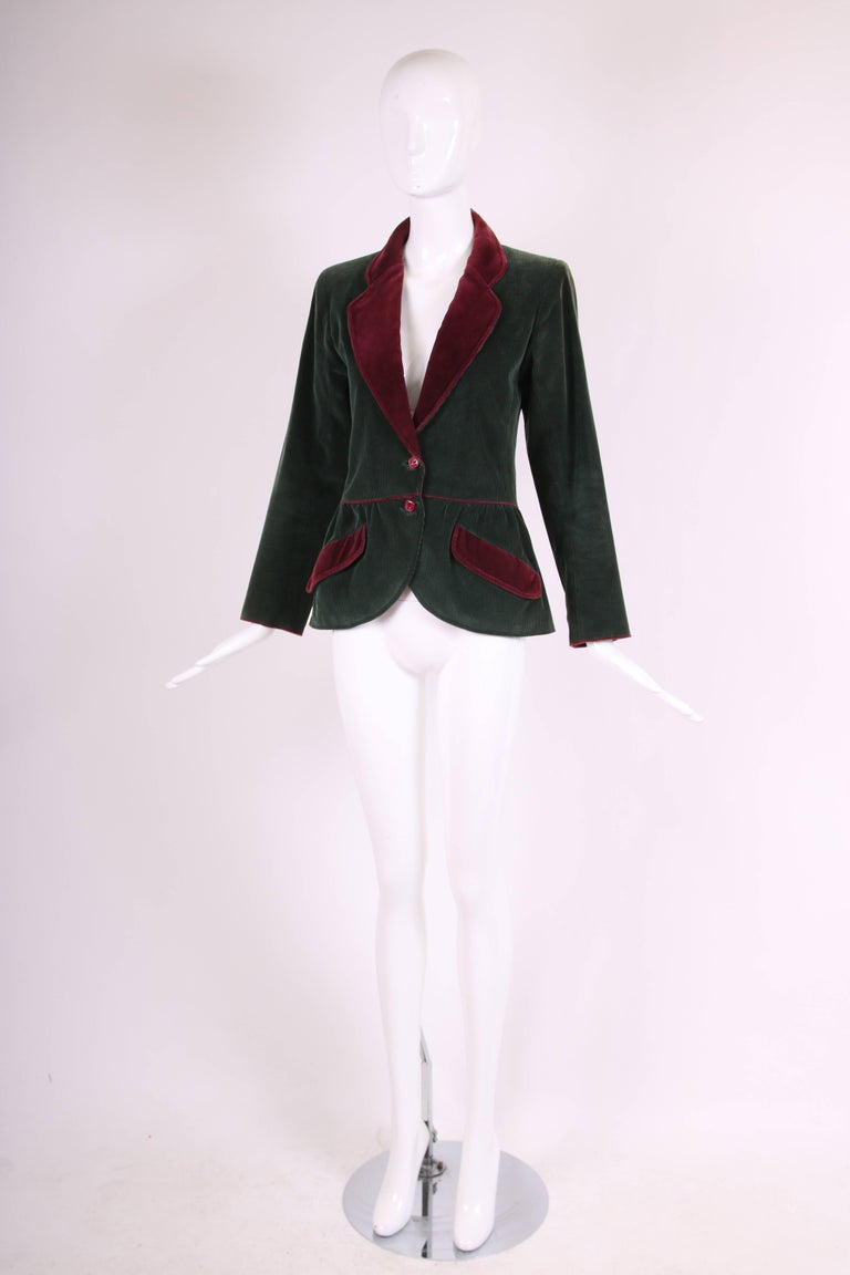 Black Yves Saint Laurent YSL Green Corduroy Jacket W/Burgundy Velvet Trim For Sale