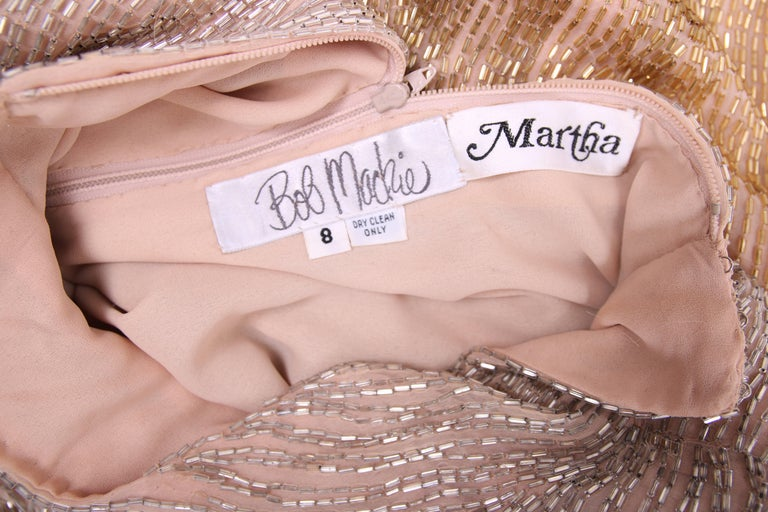 1112dcc5935a2 Bob Mackie Champagne Silk Gold & Silver Beaded Long Sleeved Evening Gown  For Sale 2