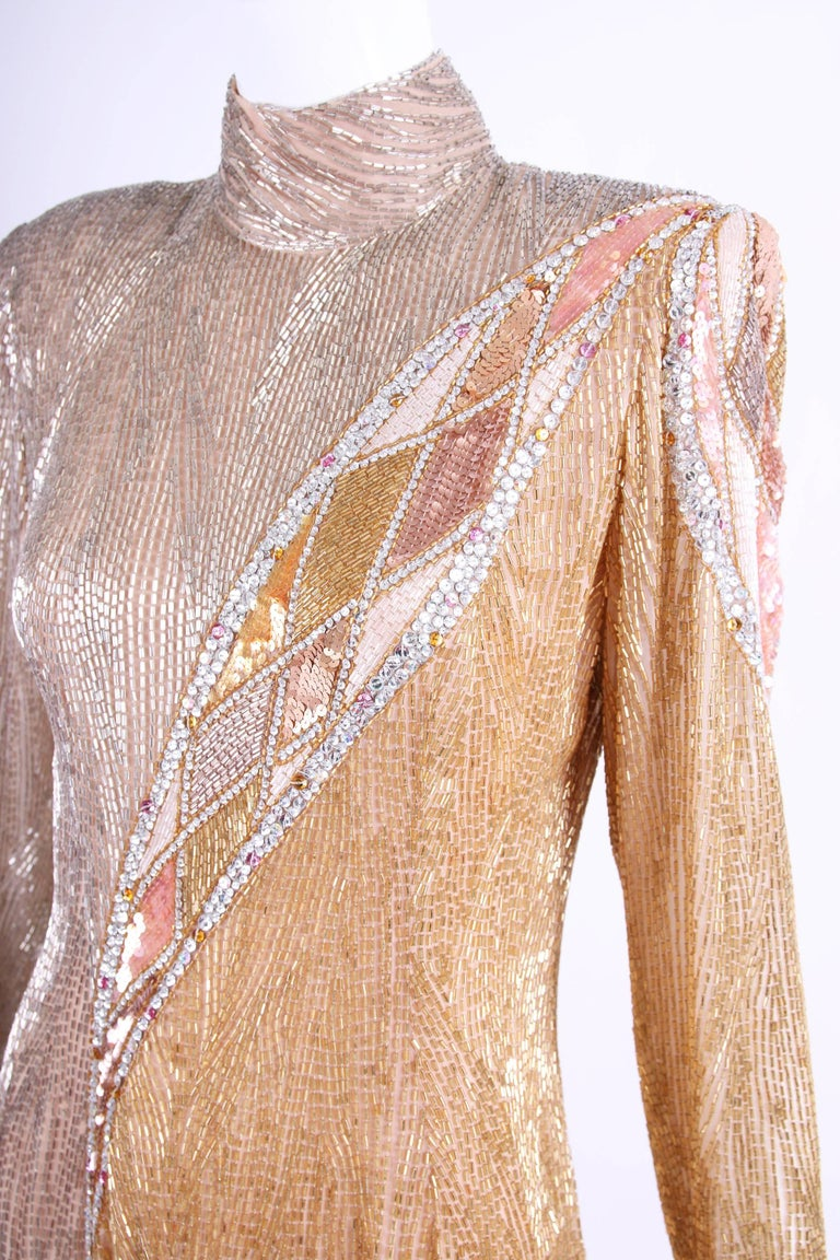Bob Mackie White Long Sleeve Gown, Beaded and Sequins For