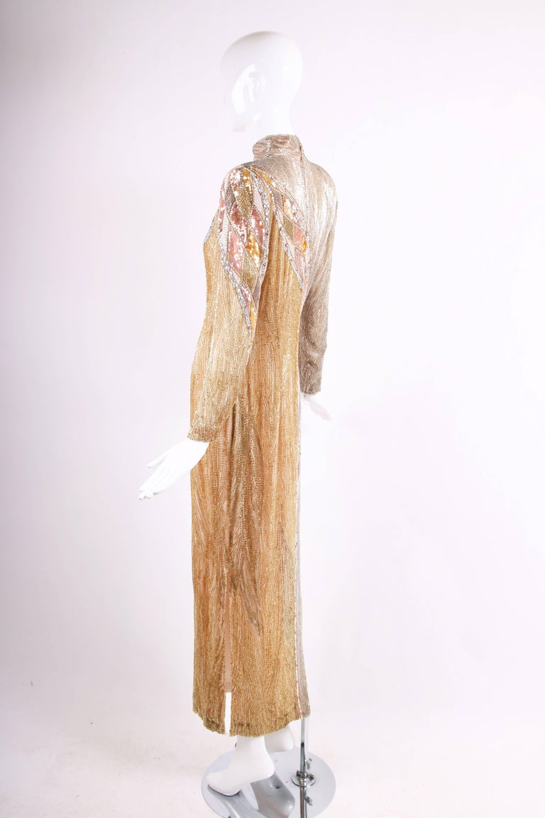 68cf52877767b Bob Mackie Champagne Silk Gold & Silver Beaded Long Sleeved Evening Gown In  Excellent Condition For
