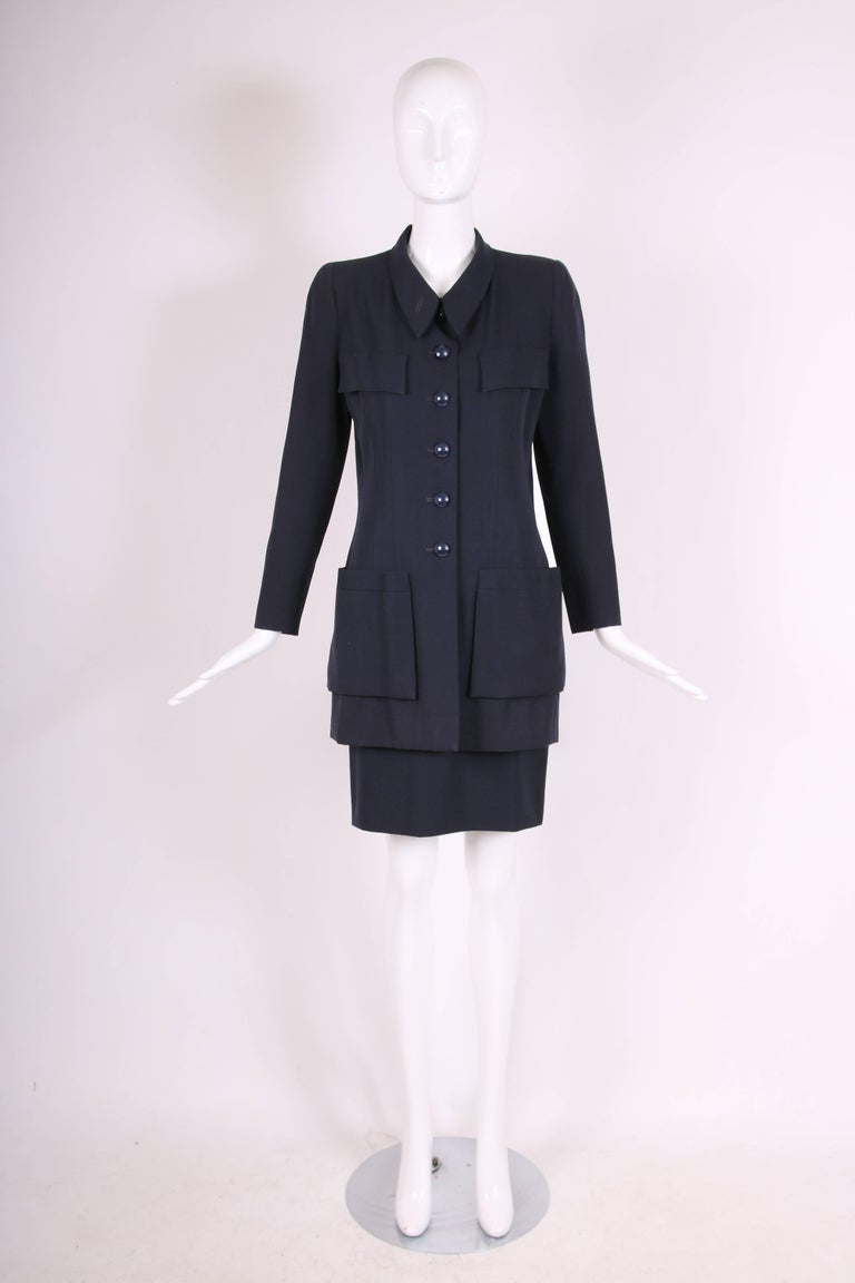 Chanel Haute Couture Navy Blue Wool Jacket and Skirt Ensemble No. 68181 In Excellent Condition For Sale In Los Angeles, CA
