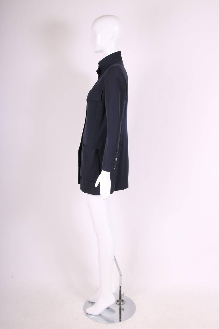 Women's Chanel Haute Couture Navy Blue Wool Jacket and Skirt Ensemble No. 68181 For Sale