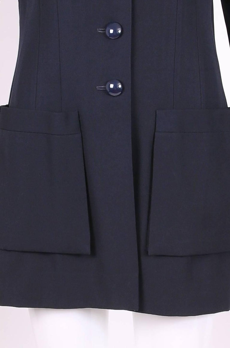 Chanel Haute Couture Navy Blue Wool Jacket and Skirt Ensemble No. 68181 For Sale 1
