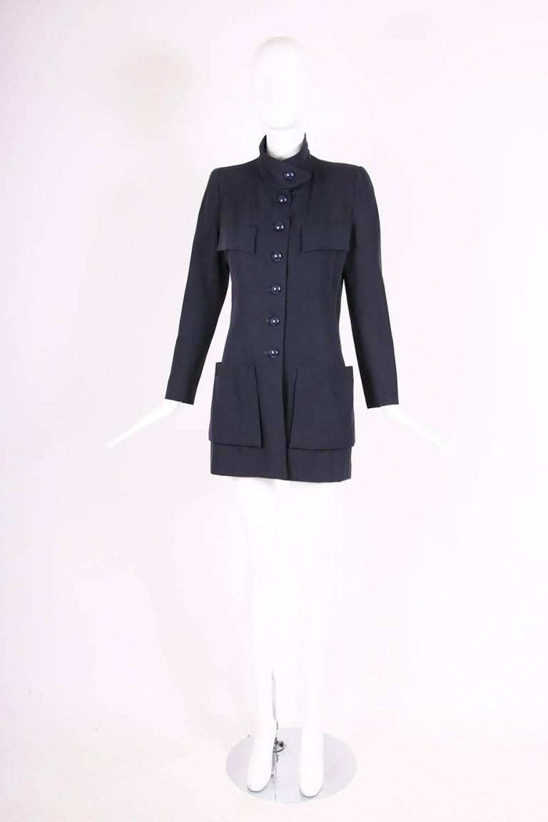 Black Chanel Haute Couture Navy Blue Wool Jacket and Skirt Ensemble No. 68181 For Sale