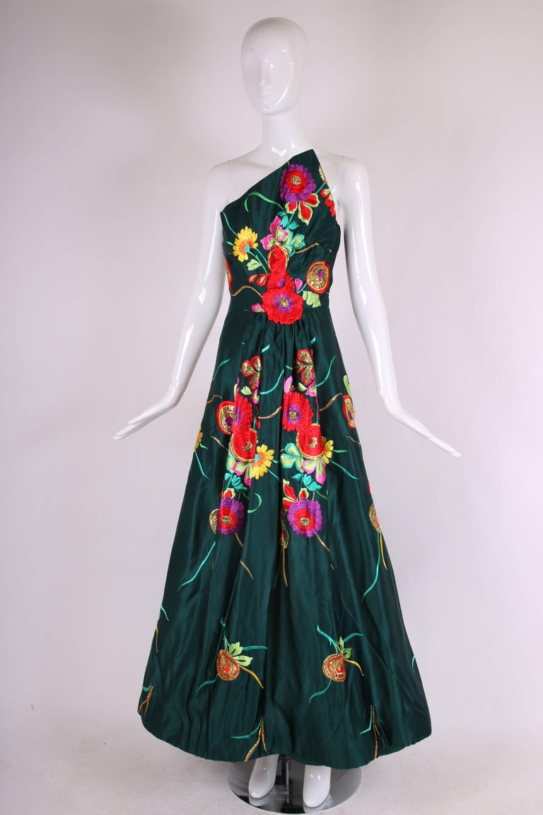 Black Arnold Scaasi Couture Satin Strapless Evening Gown w/Floral Embroidery For Sale
