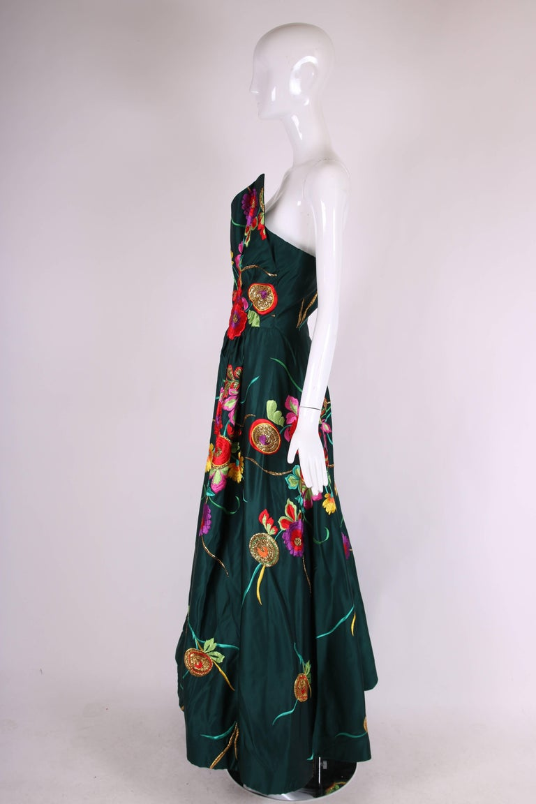 Arnold Scaasi Couture Satin Strapless Evening Gown w/Floral Embroidery In Excellent Condition For Sale In Los Angeles, CA