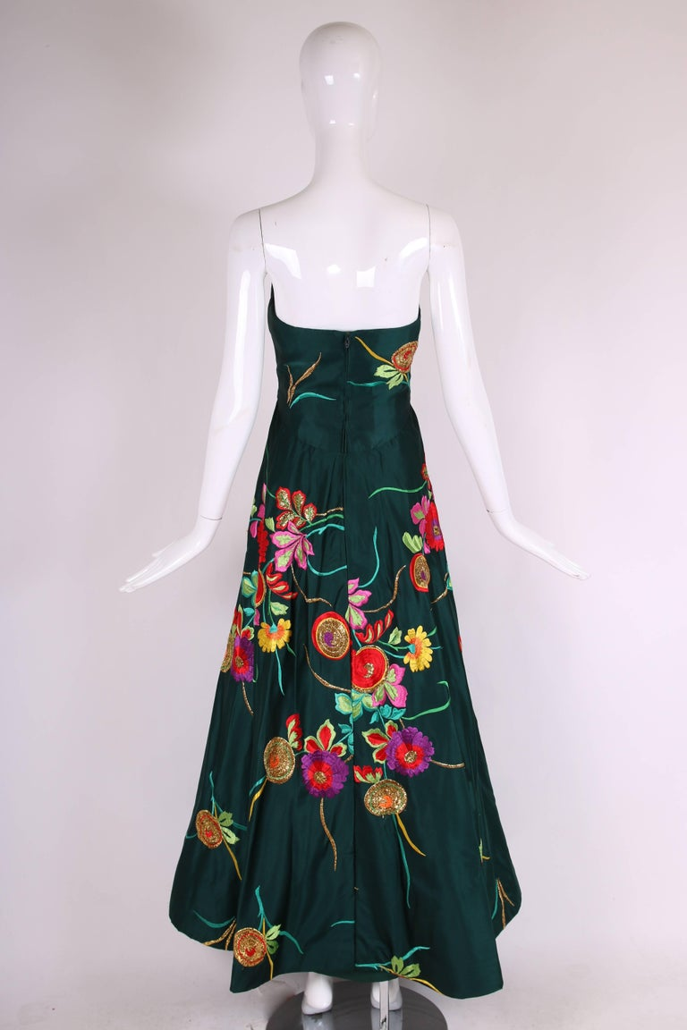 Women's Arnold Scaasi Couture Satin Strapless Evening Gown w/Floral Embroidery For Sale