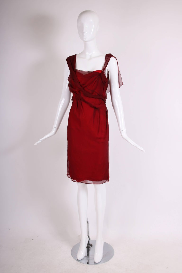 Christian Dior by John Galliano burgundy chiffon double layered cocktail dress with asymmetric fabric pattern at top layer. In excellent condition - no size tag, please consult measurements.