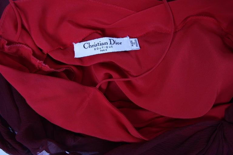 Christian Dior by John Galliano Burgundy Chiffon Asymmetrical Cocktail Dress For Sale 2