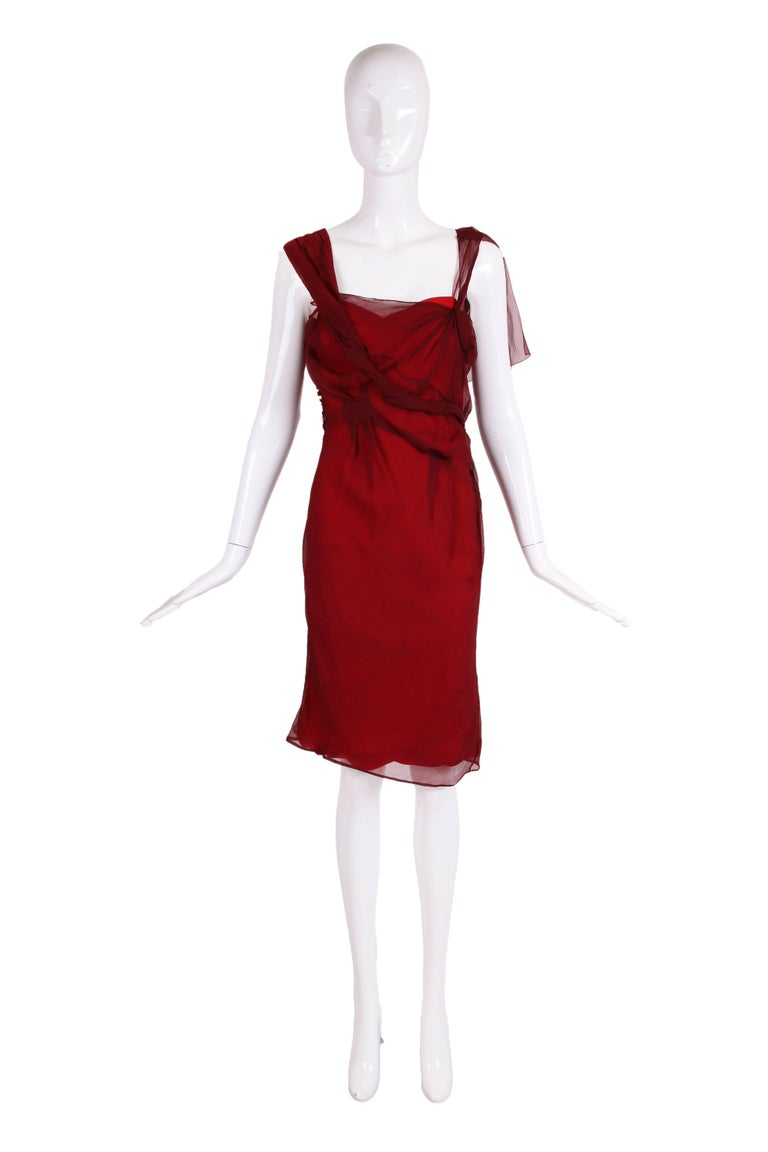 Red Christian Dior by John Galliano Burgundy Chiffon Asymmetrical Cocktail Dress For Sale