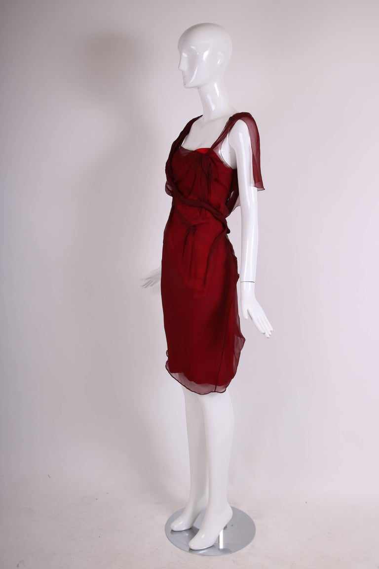 Christian Dior by John Galliano Burgundy Chiffon Asymmetrical Cocktail Dress In Excellent Condition For Sale In Los Angeles, CA