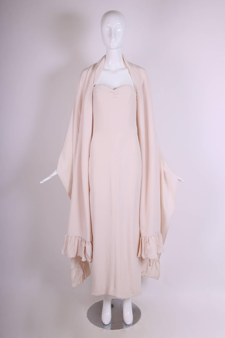 Beige Attributed to Valentino Strapless Silk Evening Gown with Side Slit & Shawl 1970s For Sale