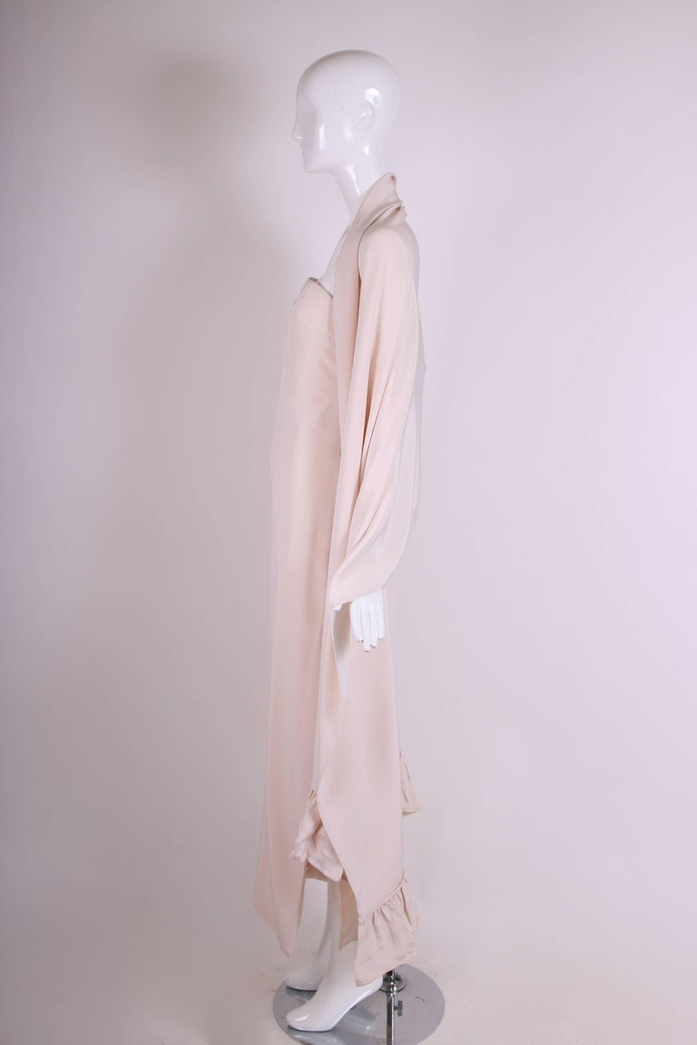 Women's Attributed to Valentino Strapless Silk Evening Gown with Side Slit & Shawl 1970s For Sale