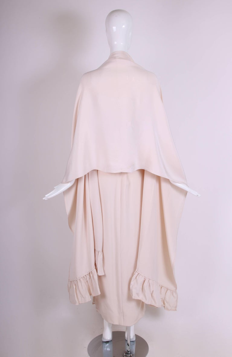 Attributed to Valentino Strapless Silk Evening Gown with Side Slit & Shawl 1970s For Sale 1
