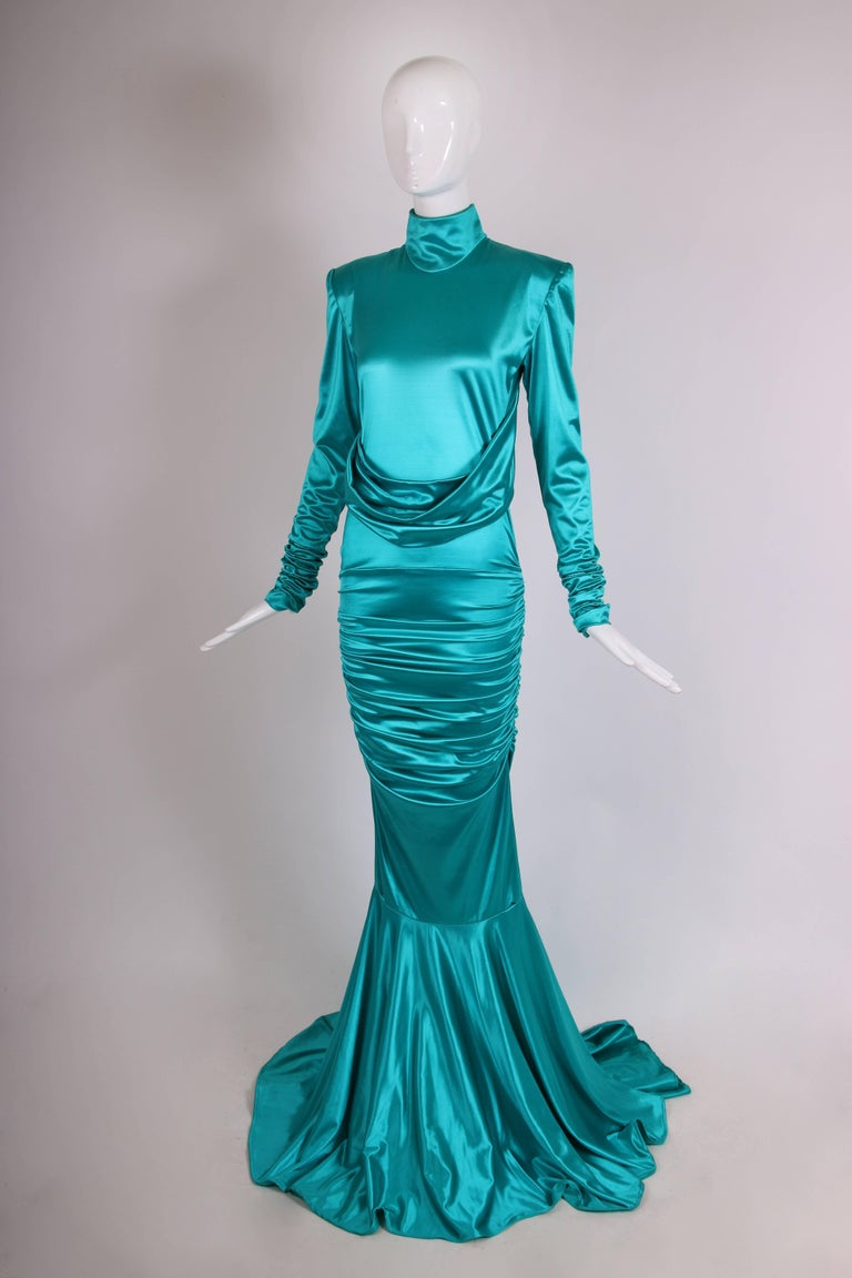 Blue 1988 Patrick Kelly Electric Turquoise Stretch Mermaid Gown For Sale