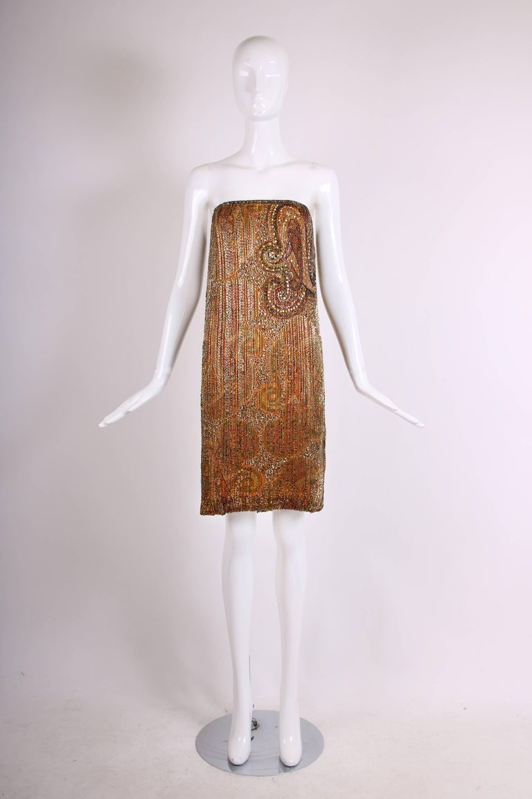 Brown 1970s Bob Mackie Beaded and Sequined Mini Cocktail Dress with Matching Scarf For Sale