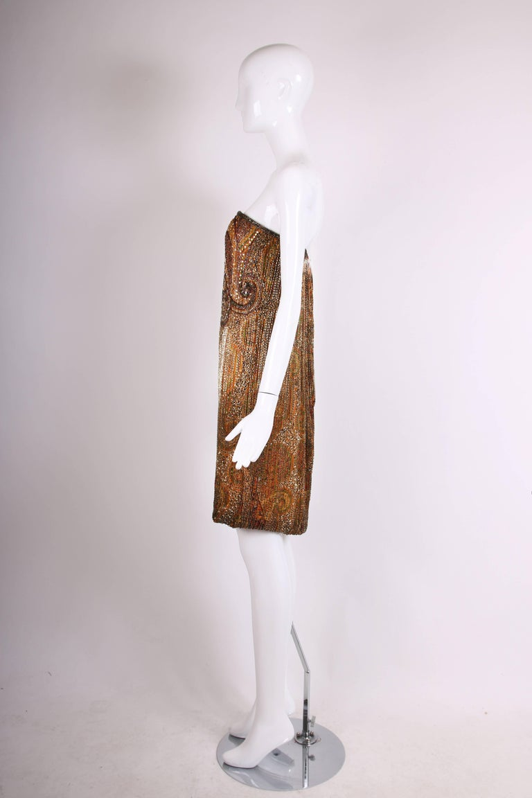 Women's 1970s Bob Mackie Beaded and Sequined Mini Cocktail Dress with Matching Scarf For Sale