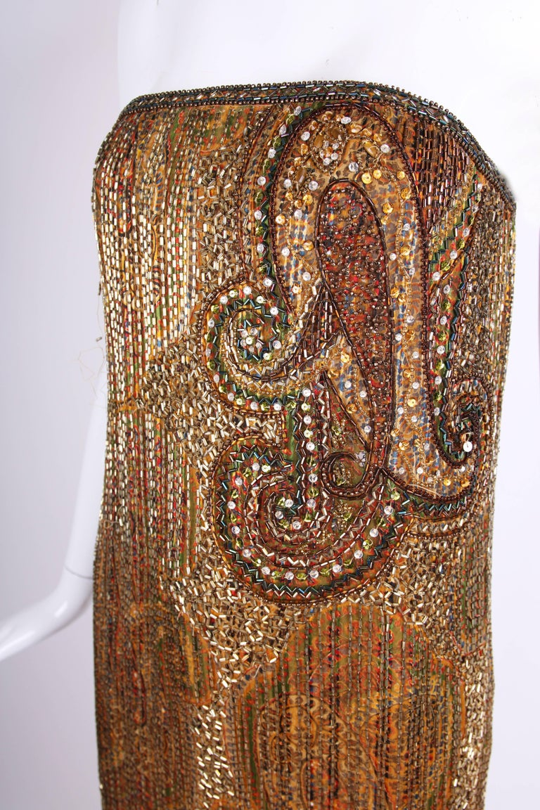 1970s Bob Mackie Beaded and Sequined Mini Cocktail Dress with Matching Scarf For Sale 2