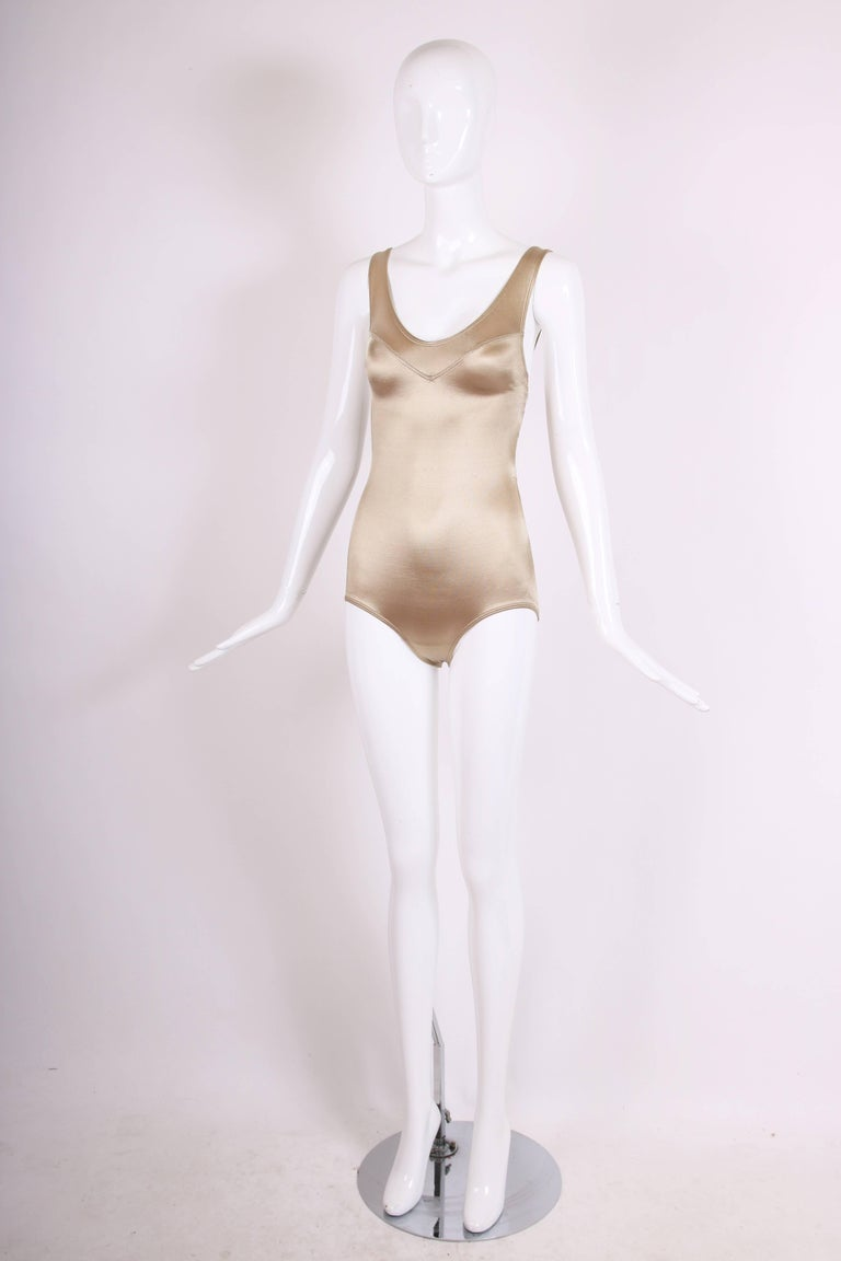 c0b327f6a8f1 Beige Azzedine Alaia Vintage Champagne Colored Stretch Satin Bathing Suit  For Sale