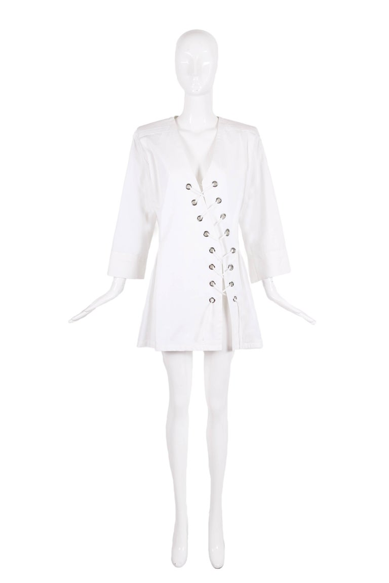 1990's Yves Saint Laurent YSL white cotton safari dress or top with diagonal lace up tie closures. In excellent condition. Size 36 - but fits more like a 40 - please consult measurements.