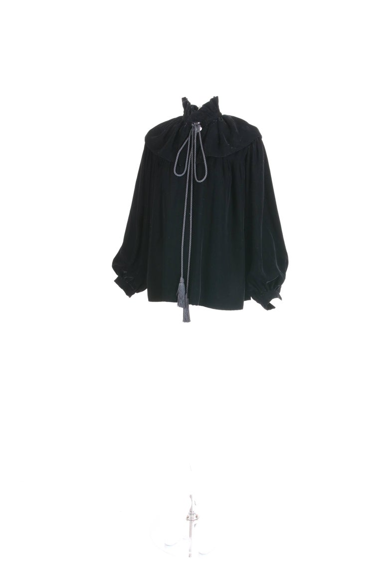 Women's 1970's Yves Saint Laurent YSL Black Velvet Russian Collection Jacket w/Silk Ties For Sale