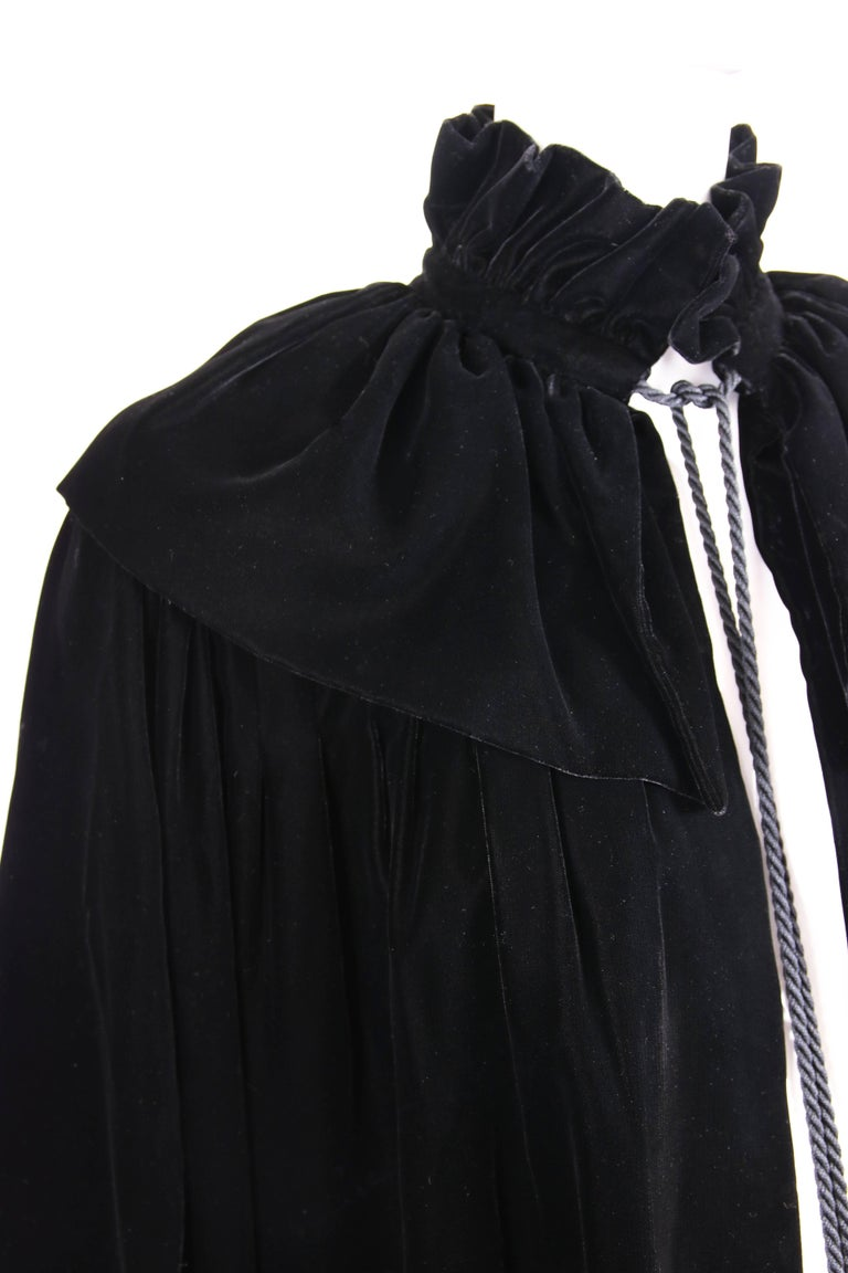 1970's Yves Saint Laurent YSL Black Velvet Russian Collection Jacket w/Silk Ties For Sale 3