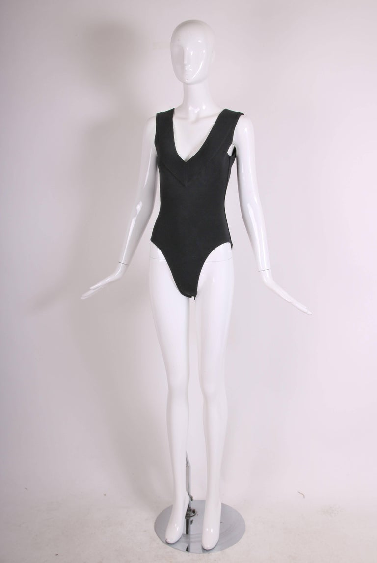 Azzedine Alaia Black Stretch Body Suit w/Deep V-Neckline at Front & Back In Excellent Condition For Sale In Los Angeles, CA