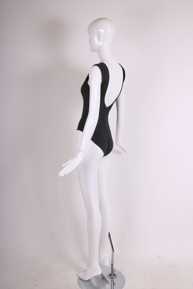 Women's Azzedine Alaia Black Stretch Body Suit w/Deep V-Neckline at Front & Back For Sale