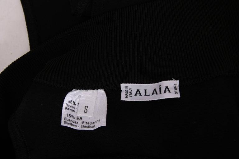 Azzedine Alaia Black Stretch Body Suit w/Deep V-Neckline at Front & Back For Sale 3