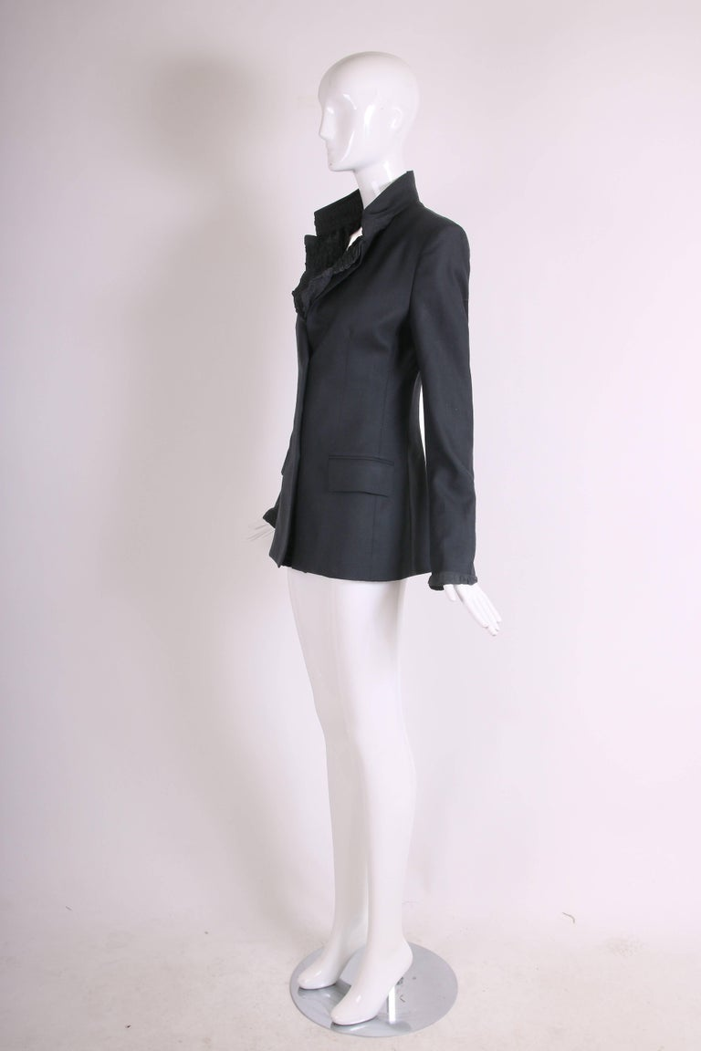 2001 A/H Yves Saint Laurent by Tom Ford Black Jacket with Ruffled Trim For Sale 1