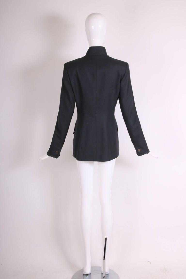2001 A/H Yves Saint Laurent by Tom Ford Black Jacket with Ruffled Trim For Sale 2