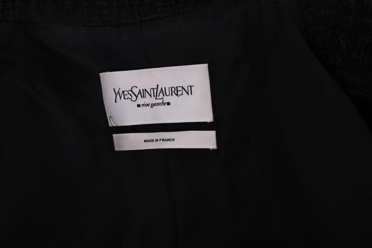2001 A/H Yves Saint Laurent by Tom Ford Black Jacket with Ruffled Trim For Sale 5